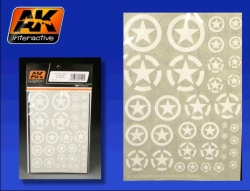 AK Interactive Transfers - US White Stars in Circles (All Scales)
