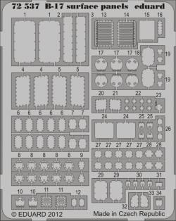 Eduard Photoetch 1:72 - B-17 surface panels S.A. (Revell)