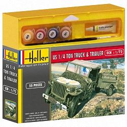 Heller 1:72 Gift Set - Willys MB Jeep & Trailer