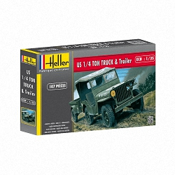 Heller 1:35 - Jeep Willis & Trailer