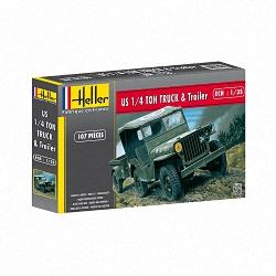 Heller 1:35 - Jeep Willis & Trailer