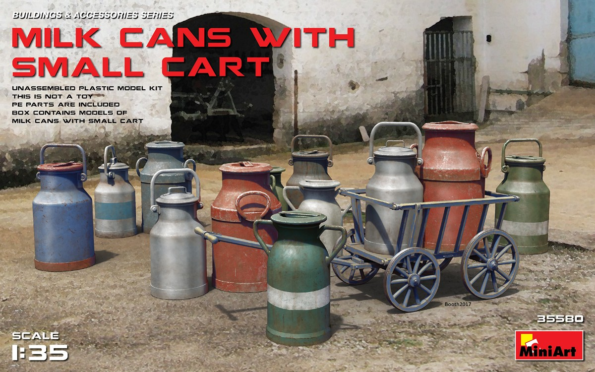 Miniart 1:35 - Milk Cans with Small Cart