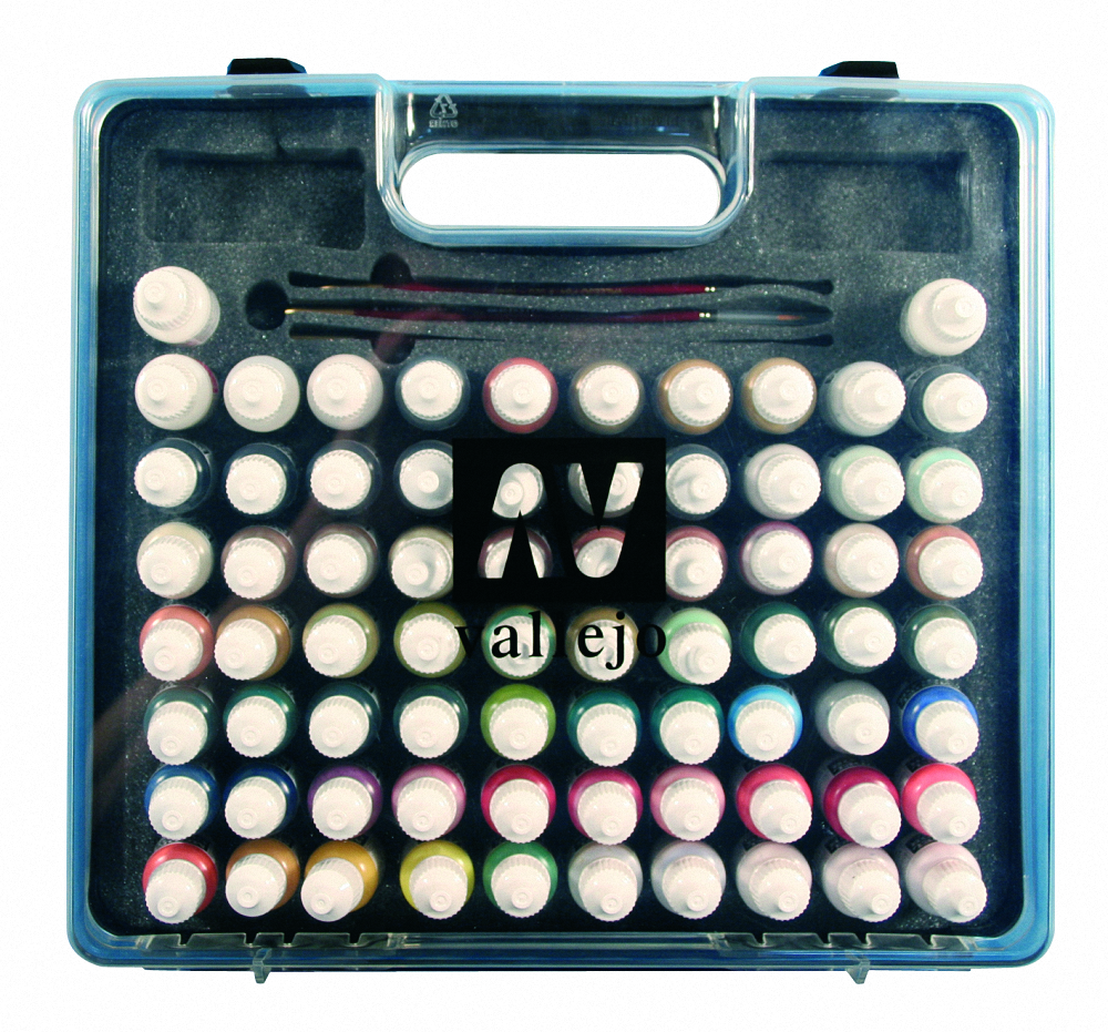 AV Vallejo Model Color Hobby Range Box Set (72 colours + 3 brushes + carry case)